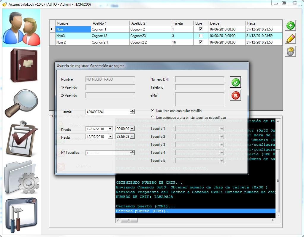 Infolock creacion usuario transeunte